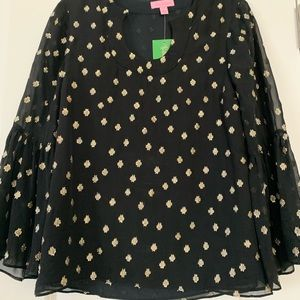 Oh so fun, Lilly Pulitzer black and gold XS top